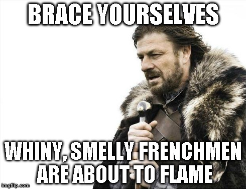Brace Yourselves X is Coming Meme | BRACE YOURSELVES WHINY, SMELLY FRENCHMEN ARE ABOUT TO FLAME | image tagged in memes,brace yourselves x is coming | made w/ Imgflip meme maker