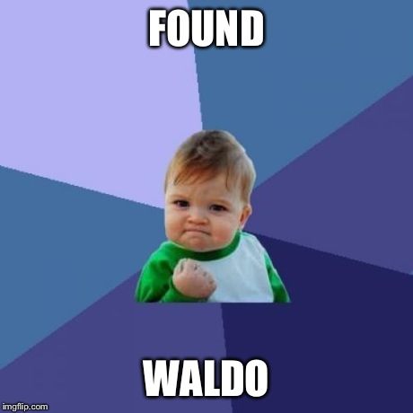 Success Kid | FOUND WALDO | image tagged in memes,success kid | made w/ Imgflip meme maker