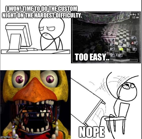 Five nights at freddys is no joke. | I WON! TIME TO DO THE CUSTOM NIGHT ON THE HARDEST DIFFICULTY. TOO EASY.. NOPE | image tagged in nope nope nope,five nights at freddys,not today,chica | made w/ Imgflip meme maker