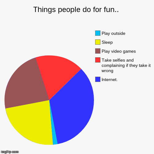Things people do for fun. | Things people do for fun.. | Internet., Take selfies and complaining if they take it wrong, Play video games, Sleep, Play outside | image tagged in funny,pie charts,true story | made w/ Imgflip chart maker