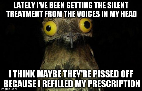 Weird Stuff I Do Potoo | LATELY I'VE BEEN GETTING THE SILENT TREATMENT FROM THE VOICES IN MY HEAD I THINK MAYBE THEY'RE PISSED OFF BECAUSE I REFILLED MY PRESCRIPTION | image tagged in memes,weird stuff i do potoo | made w/ Imgflip meme maker