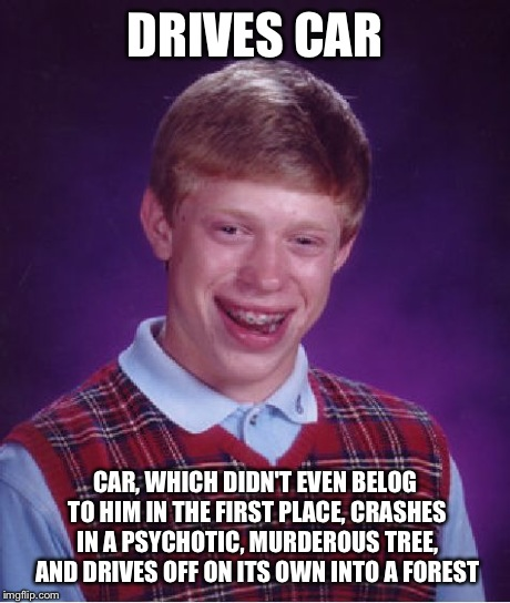 Bad Luck Ron Weasley | DRIVES CAR CAR, WHICH DIDN'T EVEN BELOG TO HIM IN THE FIRST PLACE, CRASHES IN A PSYCHOTIC, MURDEROUS TREE, AND DRIVES OFF ON ITS OWN INTO A  | image tagged in memes,bad luck brian,harry potter,funny | made w/ Imgflip meme maker