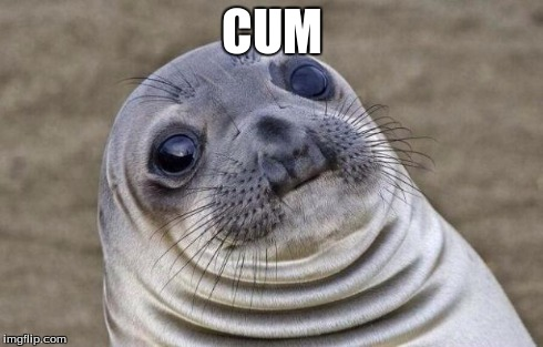 Awkward Moment Sealion Meme | CUM | image tagged in memes,awkward moment sealion | made w/ Imgflip meme maker