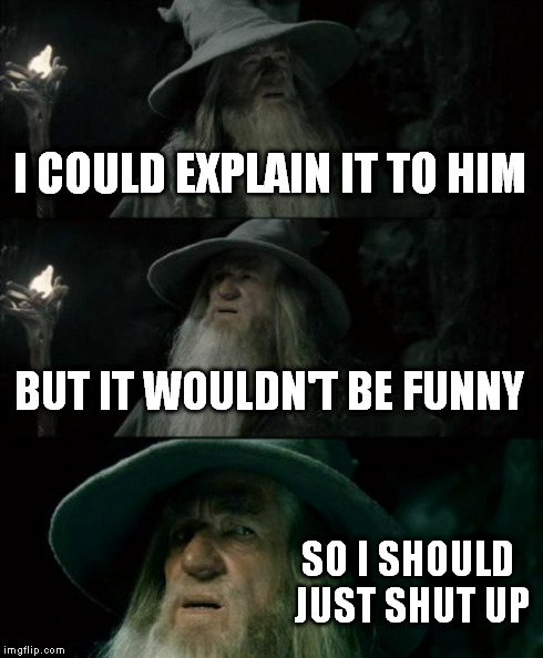 Confused Gandalf Meme | I COULD EXPLAIN IT TO HIM BUT IT WOULDN'T BE FUNNY SO I SHOULD JUST SHUT UP | image tagged in memes,confused gandalf | made w/ Imgflip meme maker