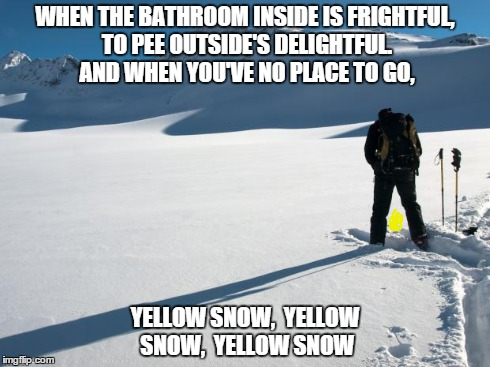 Yellow Snow | WHEN THE BATHROOM INSIDE IS FRIGHTFUL, TO PEE OUTSIDE'S DELIGHTFUL. AND WHEN YOU'VE NO PLACE TO GO, YELLOW SNOW, YELLOW SNOW, YELLOW SNOW | image tagged in yellow snow,snow,yellow,bathroom | made w/ Imgflip meme maker