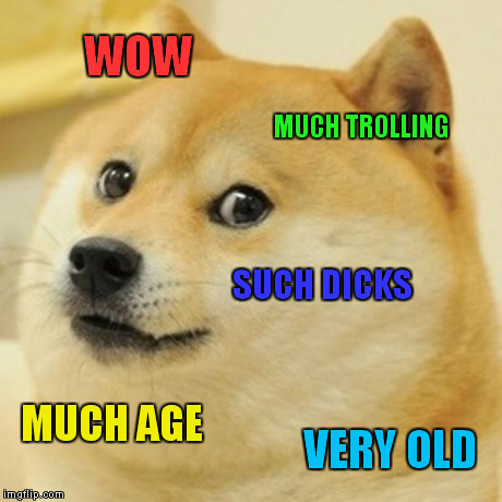 Doge Meme | WOW MUCH TROLLING SUCH DICKS MUCH AGE VERY OLD | image tagged in memes,doge | made w/ Imgflip meme maker