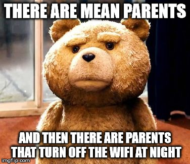 TED | THERE ARE MEAN PARENTS AND THEN THERE ARE PARENTS THAT TURN OFF THE WIFI AT NIGHT | image tagged in memes,ted | made w/ Imgflip meme maker