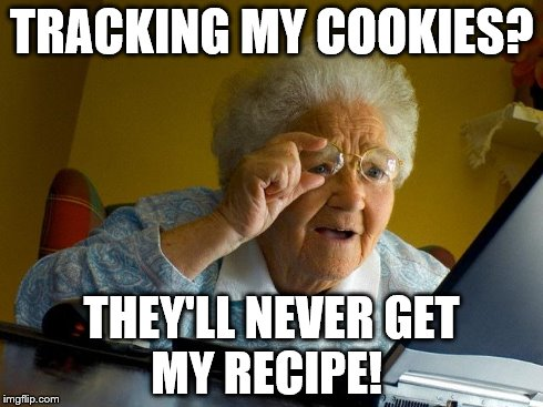 Grandma Finds The Internet | TRACKING MY COOKIES? THEY'LL NEVER GET      MY RECIPE! | image tagged in memes,grandma finds the internet | made w/ Imgflip meme maker