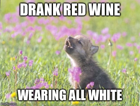 Baby Insanity Wolf Meme | DRANK RED WINE WEARING ALL WHITE | image tagged in memes,baby insanity wolf | made w/ Imgflip meme maker