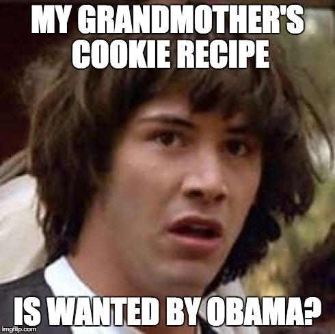Conspiracy Keanu Meme | MY GRANDMOTHER'S COOKIE RECIPE IS WANTED BY OBAMA? | image tagged in memes,conspiracy keanu | made w/ Imgflip meme maker