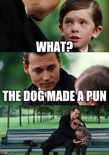 Finding Neverland Meme | WHAT? THE DOG MADE A PUN | image tagged in memes,finding neverland | made w/ Imgflip meme maker