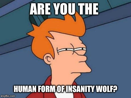 Futurama Fry Meme | ARE YOU THE HUMAN FORM OF INSANITY WOLF? | image tagged in memes,futurama fry | made w/ Imgflip meme maker