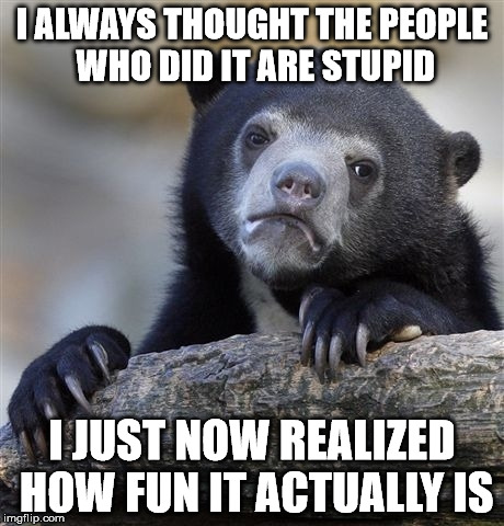 Confession Bear Meme | I ALWAYS THOUGHT THE PEOPLE WHO DID IT ARE STUPID I JUST NOW REALIZED HOW FUN IT ACTUALLY IS | image tagged in memes,confession bear | made w/ Imgflip meme maker
