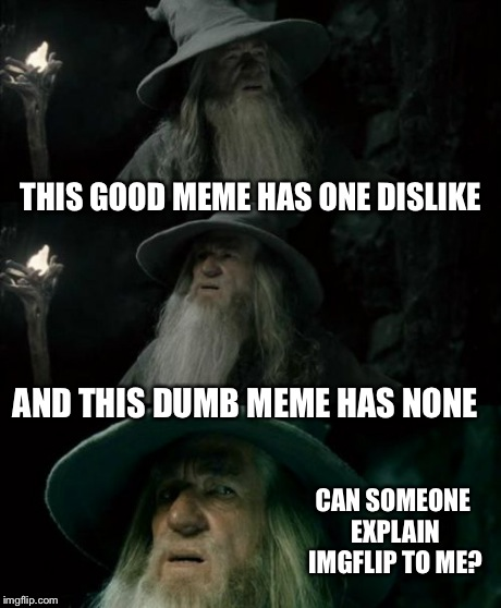 Confused Gandalf Meme | THIS GOOD MEME HAS ONE DISLIKE AND THIS DUMB MEME HAS NONE CAN SOMEONE EXPLAIN IMGFLIP TO ME? | image tagged in memes,confused gandalf | made w/ Imgflip meme maker