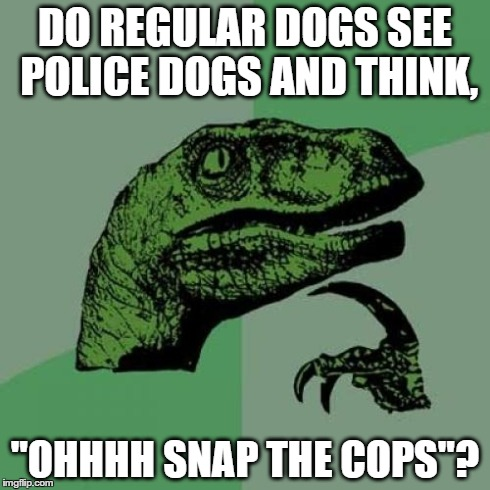 "Philosoraptor Meme | DO REGULAR DOGS SEE POLICE DOGS AND THINK, ""OHHHH SNAP THE COPS""? 