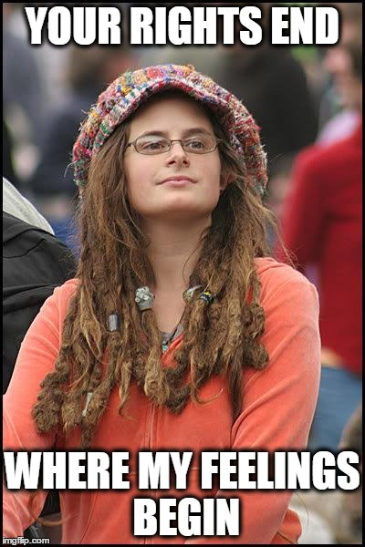Hippie | YOUR RIGHTS END WHERE MY FEELINGS BEGIN | image tagged in hippie | made w/ Imgflip meme maker