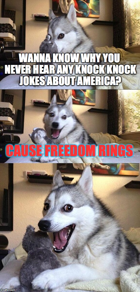 Bad Pun Dog Meme | WANNA KNOW WHY YOU NEVER HEAR ANY KNOCK KNOCK JOKES ABOUT AMERICA? CAUSE FREEDOM RINGS | image tagged in memes,bad pun dog | made w/ Imgflip meme maker