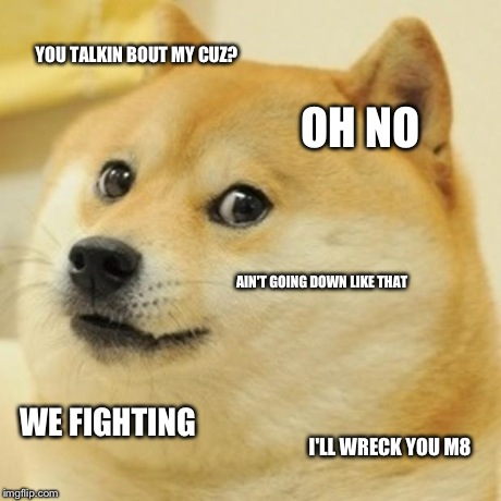 Doge Meme | YOU TALKIN BOUT MY CUZ? OH NO AIN'T GOING DOWN LIKE THAT WE FIGHTING I'LL WRECK YOU M8 | image tagged in memes,doge | made w/ Imgflip meme maker