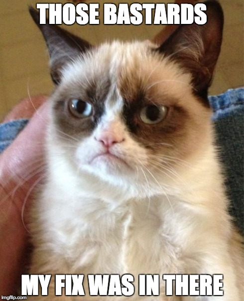 Grumpy Cat Meme | THOSE BA***RDS MY FIX WAS IN THERE | image tagged in memes,grumpy cat | made w/ Imgflip meme maker