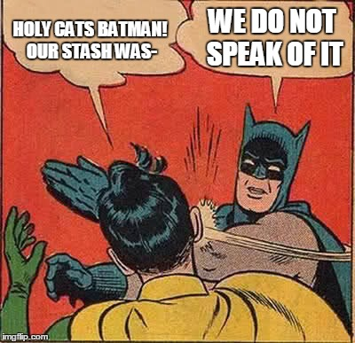 Batman Slapping Robin Meme | HOLY CATS BATMAN! OUR STASH WAS- WE DO NOT SPEAK OF IT | image tagged in memes,batman slapping robin | made w/ Imgflip meme maker