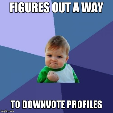 Success Kid Meme | FIGURES OUT A WAY TO DOWNVOTE PROFILES | image tagged in memes,success kid | made w/ Imgflip meme maker