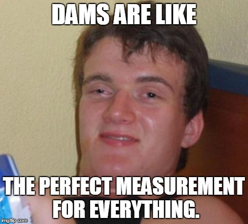 10 Guy Meme | DAMS ARE LIKE THE PERFECT MEASUREMENT FOR EVERYTHING. | image tagged in memes,10 guy | made w/ Imgflip meme maker