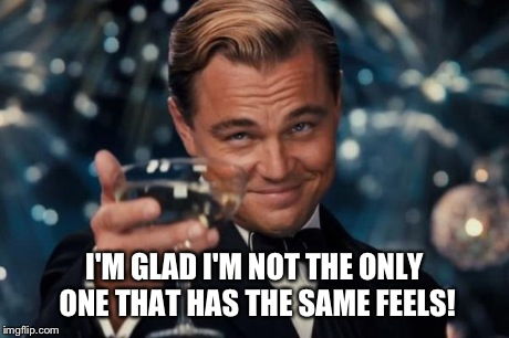 Leonardo Dicaprio Cheers Meme | I'M GLAD I'M NOT THE ONLY ONE THAT HAS THE SAME FEELS! | image tagged in memes,leonardo dicaprio cheers | made w/ Imgflip meme maker