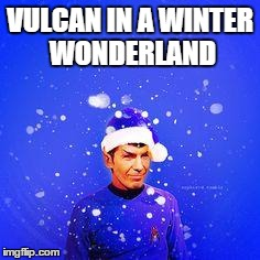 Vulcan Christmas | VULCAN IN A WINTER WONDERLAND | image tagged in vulcan christmas,winter wonderland,christmas,star trek | made w/ Imgflip meme maker