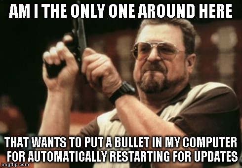 Am I The Only One Around Here Meme | AM I THE ONLY ONE AROUND HERE THAT WANTS TO PUT A BULLET IN MY COMPUTER FOR AUTOMATICALLY RESTARTING FOR UPDATES | image tagged in memes,am i the only one around here | made w/ Imgflip meme maker
