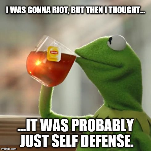 But Thats None Of My Business Meme | I WAS GONNA RIOT, BUT THEN I THOUGHT... ...IT WAS PROBABLY JUST SELF DEFENSE. | image tagged in memes,but thats none of my business,kermit the frog | made w/ Imgflip meme maker