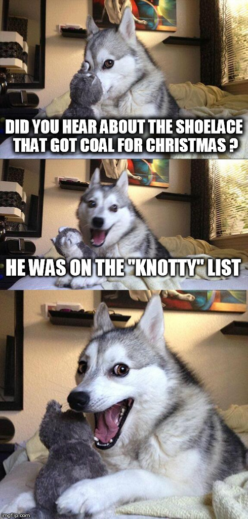 "Merry Christmas from Bad Pun Dog | DID YOU HEAR ABOUT THE SHOELACE THAT GOT COAL FOR CHRISTMAS ? HE WAS ON THE ""KNOTTY"" LIST 