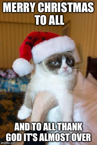 Thanks God It's Almost Over | MERRY CHRISTMAS TO ALL AND TO ALL THANK GOD IT'S ALMOST OVER | image tagged in memes,grumpy cat christmas,grumpy cat | made w/ Imgflip meme maker
