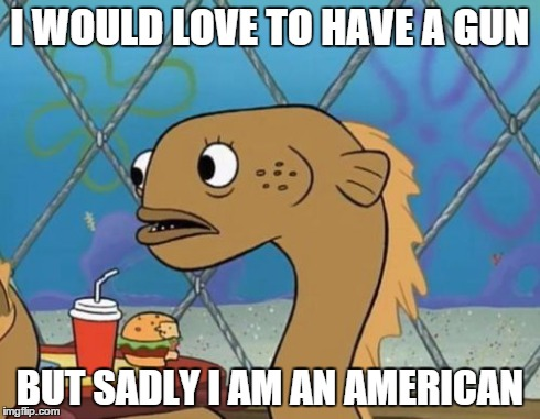 Sadly I Am Only An Eel | I WOULD LOVE TO HAVE A GUN BUT SADLY I AM AN AMERICAN | image tagged in memes,sadly i am only an eel | made w/ Imgflip meme maker