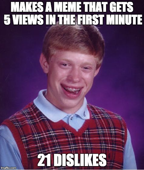 Twenty-Juan | MAKES A MEME THAT GETS 5 VIEWS IN THE FIRST MINUTE 21 DISLIKES | image tagged in memes,bad luck brian,21,funny,dislike,views | made w/ Imgflip meme maker