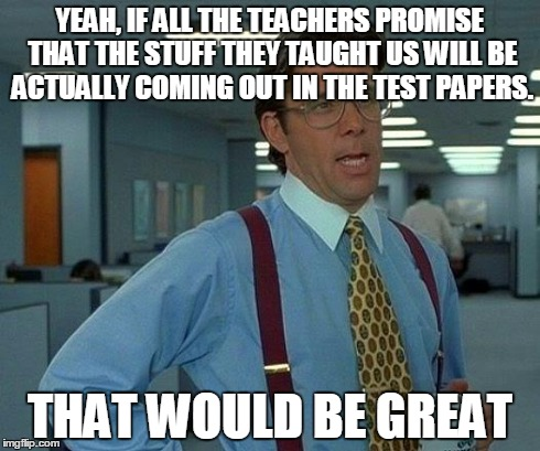 That Would Be Great Meme | YEAH, IF ALL THE TEACHERS PROMISE THAT THE STUFF THEY TAUGHT US WILL BE ACTUALLY COMING OUT IN THE TEST PAPERS. THAT WOULD BE GREAT | image tagged in memes,that would be great | made w/ Imgflip meme maker