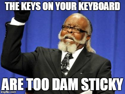Too Damn High Meme | THE KEYS ON YOUR KEYBOARD ARE TOO DAM STICKY | image tagged in memes,too damn high | made w/ Imgflip meme maker