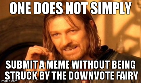These people need to get a freakin' life! | ONE DOES NOT SIMPLY SUBMIT A MEME WITHOUT BEING STRUCK BY THE DOWNVOTE FAIRY | image tagged in memes,one does not simply,true | made w/ Imgflip meme maker