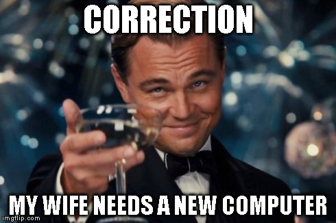 Leonardo Dicaprio Cheers Meme | CORRECTION MY WIFE NEEDS A NEW COMPUTER | image tagged in memes,leonardo dicaprio cheers | made w/ Imgflip meme maker