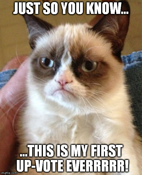 Grumpy Cat Meme | JUST SO YOU KNOW... ...THIS IS MY FIRST UP-VOTE EVERRRRR! | image tagged in memes,grumpy cat | made w/ Imgflip meme maker
