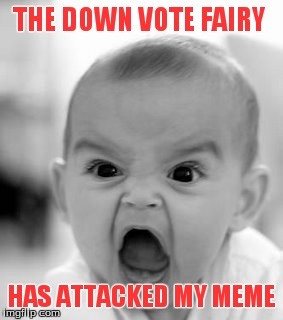 Angry Baby | THE DOWN VOTE FAIRY HAS ATTACKED MY MEME | image tagged in memes,angry baby | made w/ Imgflip meme maker