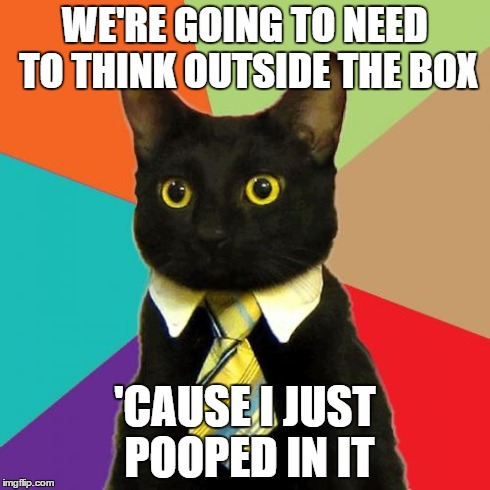 Business Cat | WE'RE GOING TO NEED TO THINK OUTSIDE THE BOX 'CAUSE I JUST POOPED IN IT | image tagged in memes,business cat,funny,lolz,cats,poop | made w/ Imgflip meme maker