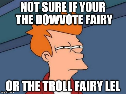 Futurama Fry | NOT SURE IF YOUR THE DOWVOTE FAIRY OR THE TROLL FAIRY LEL | image tagged in memes,futurama fry | made w/ Imgflip meme maker