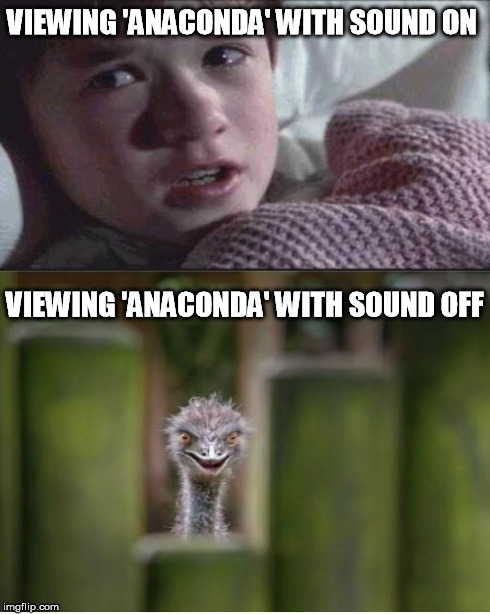 VIEWING 'ANACONDA' WITH SOUND ON VIEWING 'ANACONDA' WITH SOUND OFF | made w/ Imgflip meme maker