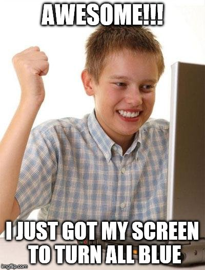 First Day On The Internet Kid Meme | AWESOME!!! I JUST GOT MY SCREEN TO TURN ALL BLUE | image tagged in memes,first day on the internet kid | made w/ Imgflip meme maker
