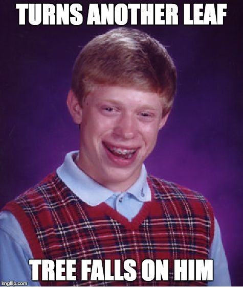 Bad Luck Brian Meme | TURNS ANOTHER LEAF TREE FALLS ON HIM | image tagged in memes,bad luck brian | made w/ Imgflip meme maker