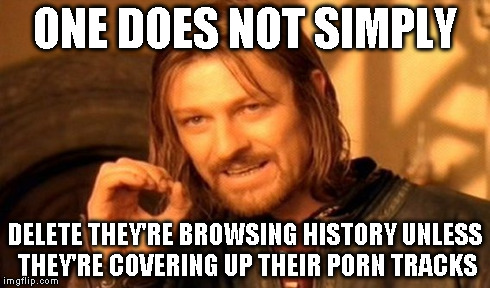 One Does Not Simply Meme | ONE DOES NOT SIMPLY DELETE THEY'RE BROWSING HISTORY UNLESS THEY'RE COVERING UP THEIR PORN TRACKS | image tagged in memes,one does not simply | made w/ Imgflip meme maker