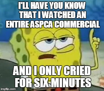 I'll Have You Know Spongebob | I'LL HAVE YOU KNOW THAT I WATCHED AN ENTIRE ASPCA COMMERCIAL AND I ONLY CRIED FOR SIX MINUTES | image tagged in memes,ill have you know spongebob | made w/ Imgflip meme maker