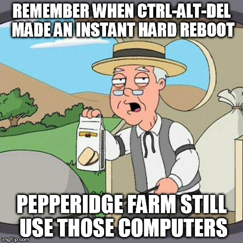 pepperidge | REMEMBER WHEN CTRL-ALT-DEL MADE AN INSTANT HARD REBOOT PEPPERIDGE FARM STILL USE THOSE COMPUTERS | image tagged in pepperidge | made w/ Imgflip meme maker