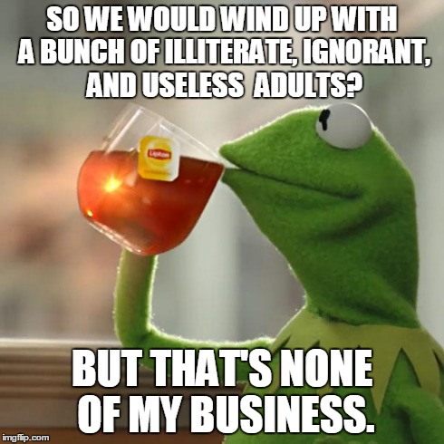 But That's None Of My Business Meme | SO WE WOULD WIND UP WITH A BUNCH OF ILLITERATE, IGNORANT, AND USELESS  ADULTS? BUT THAT'S NONE OF MY BUSINESS. | image tagged in memes,but thats none of my business,kermit the frog | made w/ Imgflip meme maker