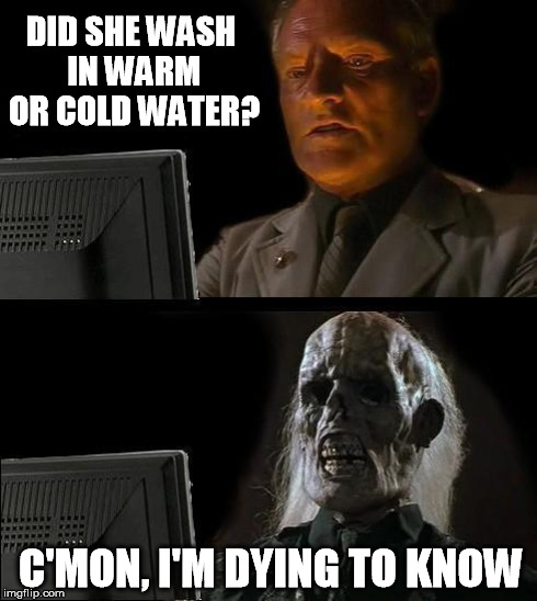 I'll Just Wait Here Meme | DID SHE WASH IN WARM OR COLD WATER? C'MON, I'M DYING TO KNOW | image tagged in memes,ill just wait here | made w/ Imgflip meme maker